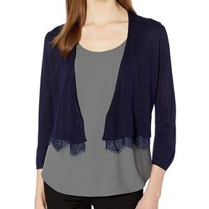 Tommy Hilfiger Blue Shawl Cardigan with lace